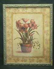 Home Interiors Frame Floral Ivy Trim Print Picture Earth Tones By Vivian Flasch
