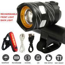 15000 Lumen Mountain Bike LED Front Light Headlamp Rechargeable Head+Rear Light