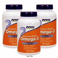 3 x NOW Omega-3 Molecularly Distilled Fish Oil, EPA DHA 200 Softgels, FREE SHIP
