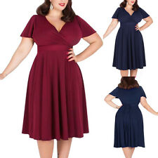50s V Neck Short Sleeve Rockabilly Swing Housewife Formal Party Dress Plus Size