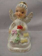 Vintage December Angel Japan 1950s Mica Halo Candle Bell Holly Berry Wreath