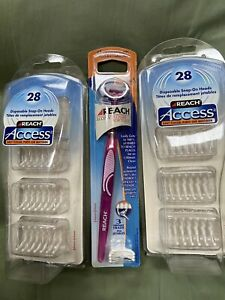 Reach Access Flosser, Pink with 2 pkgs 28 disposable heads in ea. (total 59) NIB
