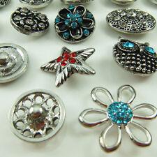 Set 10Pcs 12mm Mixed Colors Gorgeous Rhinestone Bracelet Charms Snap Buttons C