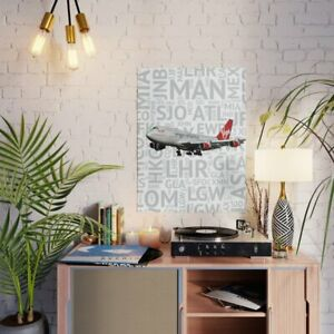 """Virgin Atlantic 747 with airport codes - 18"""" x 24"""" Poster"""