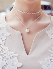 Fresh white lace Choker Pearl double clavicle necklace waves short chain NEW
