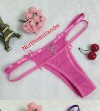 Women Erotic Playboy Hook G-string Thongs Silk Crystal Stone Sexy Panties (PINK)