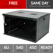 "Linxcom 6U 19"" Network Wall Cabinet Data Comms Rack 540x450mm Black Data Comms"