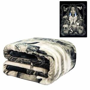 DGA Native American Mother Earth Wildlife FLANNEL Queen Size Blanket Faux Mink