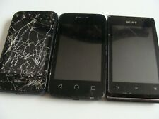 3 x PHONES - SONY, VODAFONE, ALCATEL, for parts or not working