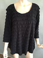 BNWT Womens Sz 16 Autograph Brand Black 3/4 Sleeve Ruffled Tunic Top RRP $60
