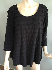 BNWT Womens Sz 22 Autograph Brand Black 3/4 Sleeve Ruffled Tunic Top RRP $60