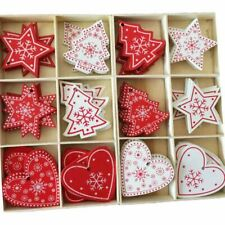 Christmas Tree Hanging Wooden Ornaments Home Xmas Party Decorations Kids Gift