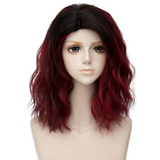 35CM Lolita Ombre Black Dark Red Curly Christmas Cosplay Wig Heat Resistant+Cap