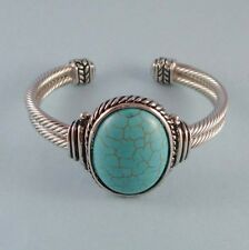 Southwest Style Turquoise Stone Silver Alloy Classic Cable Cuff Bracelet USA