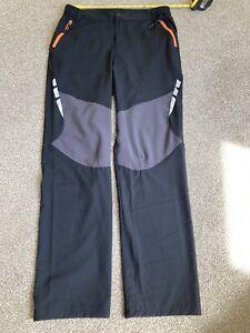 Size 14 Walking Trousers Lightweight Women Black Pockets Zip Reflective Summer