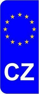 Czech Republic CZ EU Euro Flag Car Number Plate Domed Sticker Decal (Pack of 2)