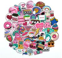 1980s 80s Theme Girly Girl Sticker Bomb Pack, Pink Vinyl PVC, Laptop Decal Lot