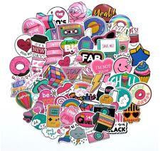 1980s 80s Theme Girly Girl Sticker Bomb Pack, Pink Vinyl PVC, Laptop Decal Lot