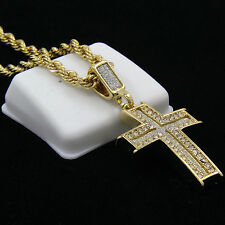 "Gold Plated Iced Out Special Cross Hip-Hop Pendant 24"" Rope Chain Necklace D586"