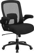 Big Amp Tall Black Mesh Executive Swivel Chair Fabric Padded Seat Flip Up Arm