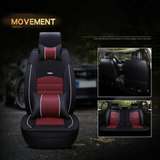 Deluxe Waterproof 5-Seats PU Leather Car Seat Cover Full Set W/Pillow Black&Rose