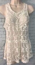 Express Lace Tank Top Sleeveless Blouse Floral Flower Crochet Peplum Ivory XS