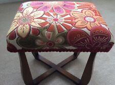 Mid Century Reupholstered Vintage Stool Oak