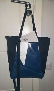 "Freitag F620 Davian recycled ""backpackable"" tote bag - Black/blue - Lightly used"