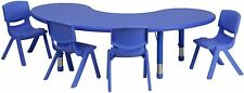 35''W x 65''L Half-Moon Blue Adjustable Activity Table Set with 4 Chairs New