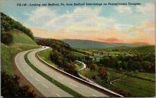 Postcard PA148 Looking Into Bedford PA From Bedford Interchange On Pennsylvania