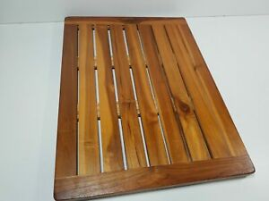 Bare Decor Dania Shower Mat, 24 by 18-Inch, Solid Teak Wood and Oiled Finish