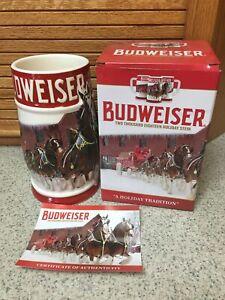 AUTHENTIC Budweiser Bud 2018 Christmas Holiday Stein Mug RARE  [NEW]