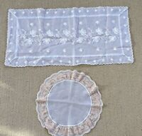 2 Vintage Sheer Dresser Scarf Table Runner White Floral Embroidered & Round Lace