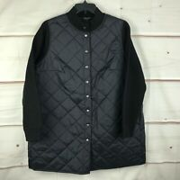 Eileen Fisher Plus Size Wool Sleeve Snap Front Womens 1X Black Quilted Jacket