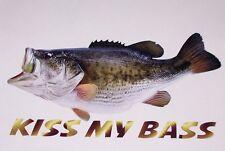 KISS MY BASS Fish Decal window Decals Boat Sticker Fishing