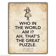 Letrero de metal placa de pared Alicia en el País De Las Maravillas Lewis Carroll cita