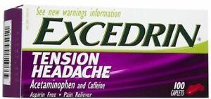 Excedrin Tension Headache Aspirin Free Pain Reliever 100 Caplets Bottle