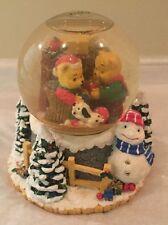 Vtg San Francisco Music Box Company Snow Water Globe Christmas Holiday Teddys