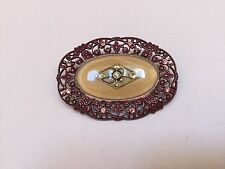 Vintage Catherine Popesco Enamel Filigree Oval Brooch Pin - Excellent - MUST SEE