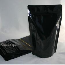 25 Stand up Pouch 6 x 9 Black Heavy Duty w/Zip Lock Top Notch Food Storage Bag