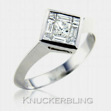 Princess 18 Carat Cluster White Gold Fine Diamond Rings