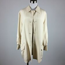 Magaschoni 6 Blazer Light Jacket Ivory Silk Button Up Shirt Style Lined