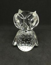 Gorgeous Bubble Clear Glass Owl Ornament/Paperweight 10cm High