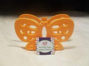 Brand New ~ Orange Plastic Napkin Holder Butterfly Design