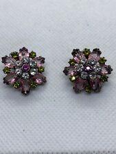 Vintage Multi Colored Rhinestone Earrings. Black Metal Pierced.