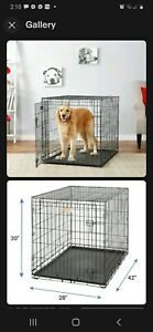 BLACK Midwest icrate 1542U ROLLING Fold & Carry Collapsible Dog Crate Cage LARGE