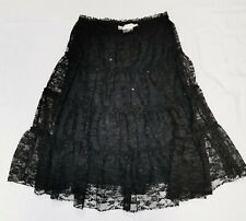 Studio M MaxStudio Black Lace Skirt Below Knee Sz Small Petite NWT