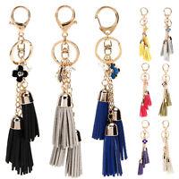 Long tassel Leather charm style Purse Handbag Key chain key ring gift New