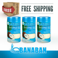 BANABAN Organic grown Virgin Coconut Oil 3 X 1 Litre - FREE SHIPPING