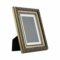 Ancien Ornate Table-Top 5x7 Antique Silver Standing Picture Frame with Mat